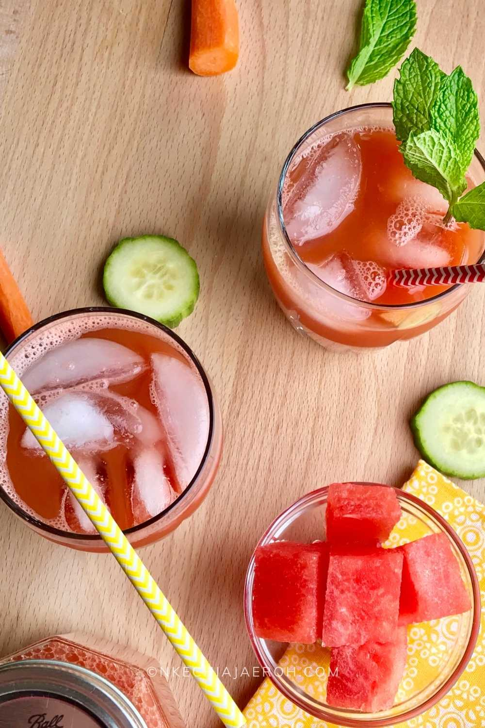 This Minty watermelon carrot drink is fresh, nutritious and easy to make! This is a summer delight you don't need you need! The freshness of mint makes this drink all worth it! #Carrot #watermelon #Healthyjuice #juice #cucumber