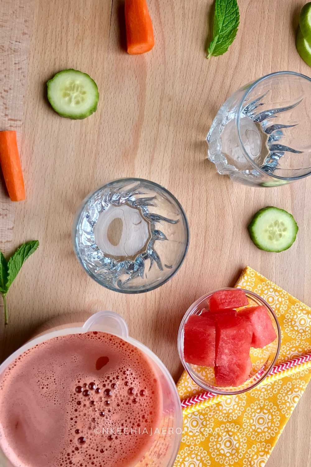 Easy and delicious Minty watermelon Carrot drink