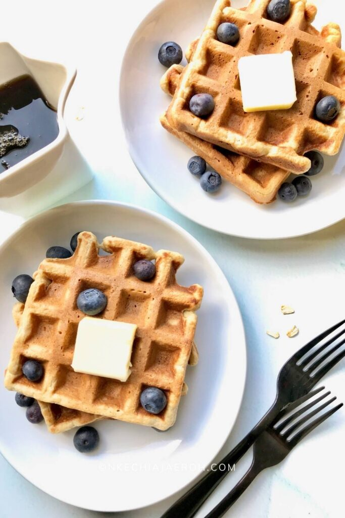 These healthy waffles are gluten-free, nut-free, fluffy, and the sweetest gluten-free waffles you will ever make! If you have some overripe bananas and old-fashioned oats, let's make some sweet banana oatmeal waffles. If you like bananas and oats separately, you would like even these banana oat waffles the more! These waffles are gluten-free and freezer-friendly. #waffles #bananawaffles #glutenfreewaffles #healthywaffles #freezermeals #oatmealwaffles #glutenfreewafflerecipe