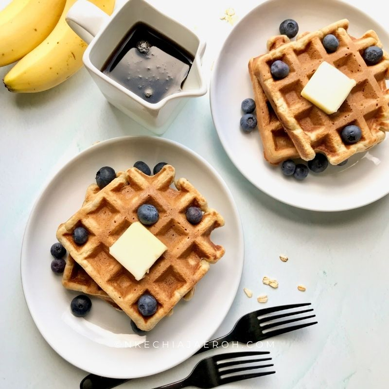 These healthy waffles are gluten-free, nut-free, fluffy, and the sweetest gluten-free waffles you will ever make! If you have some overripe bananas and old-fashioned oats, let's make some sweet banana oatmeal waffles. If you like bananas and oats separately, you would like even these banana oat waffles the more! These waffles are gluten-free and freezer-friendly. #waffles #bananawaffles #glutenfreewaffles #healthywaffles #freezermeals #oatmealwaffles