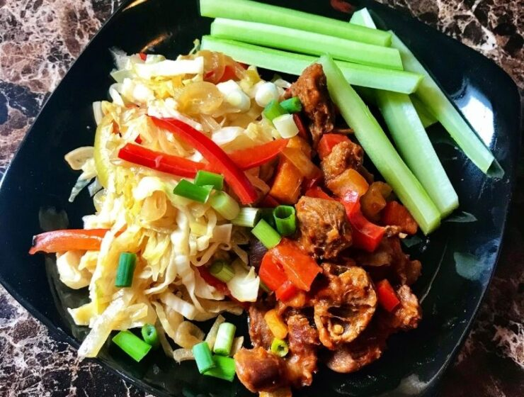This healthy chicken gizzard and cabbage stir-fry will put a smile on your face. It is flavorful, tasty, and insanely delicious! If you have been skeptical about eating gizzard, this recipe will surely change your mind. #Gizzardrecipe #gizzard #chickengizzard