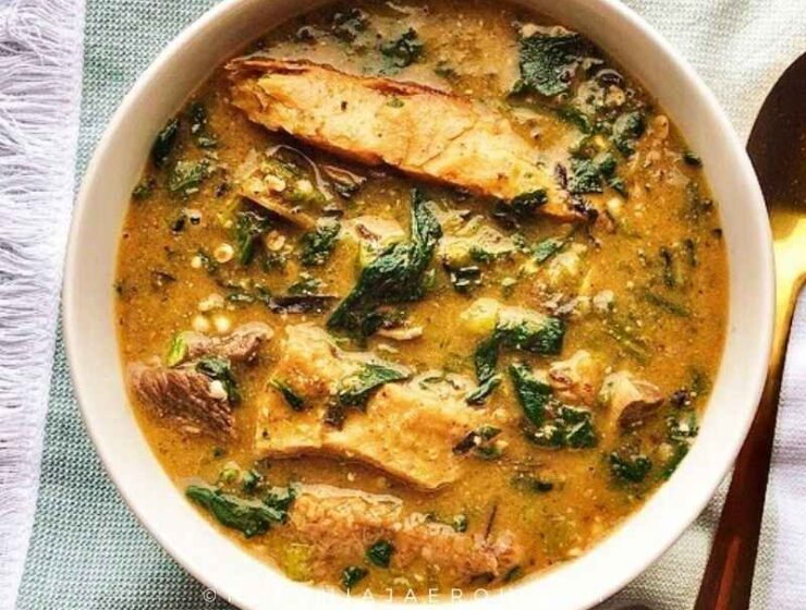 Easy Nigerian Okra and Ogbono Soup recipe with Spinach
