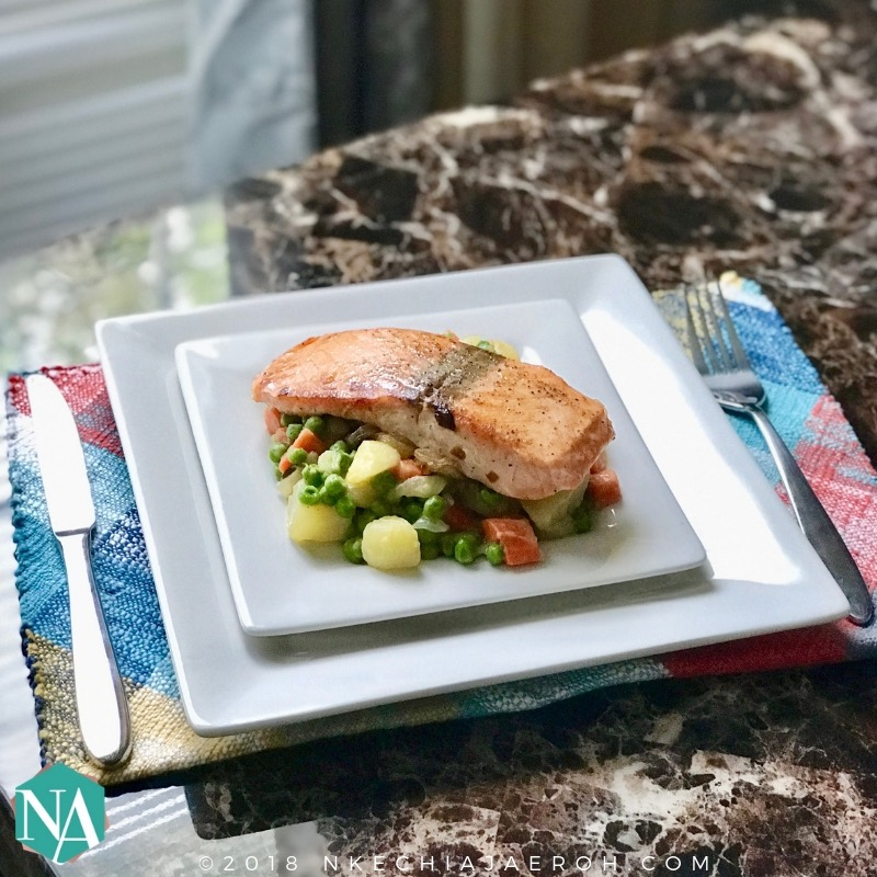 How To Make Pan-Seared Salmon With Pot Pie Style Vegetables