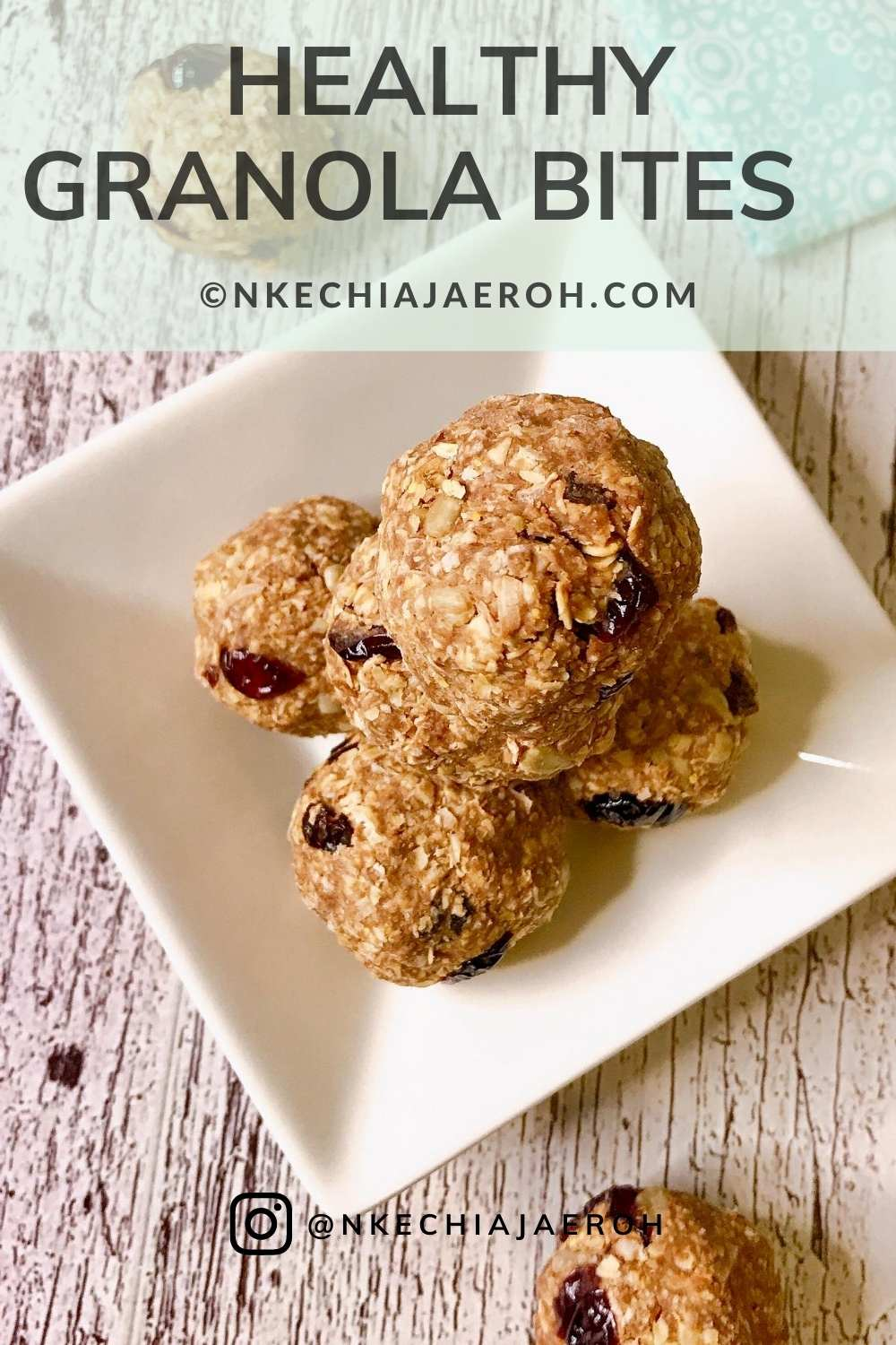 Healthy vegan energy oatmeal balls. These healthy go-to granola bites are easy to make, and they are the most delicious energy balls! Making granola is easy peasy, especially these healthy ones. To make these, you will need oats, oat flour, nuts, coconut oil, coconut flakes, dry cranberries, raisin, etc.