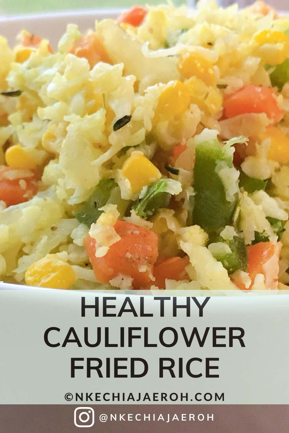 Easy to make gluten-free cauliflower fried rice recipe with vegetables. This recipe is perfect for a low carb diet, as well as a healthy vegan diet. Serve this as a side dish or add some meat, mushrooms, and tofu to make it a complete meal! This vegetable cauliflower fried rice recipe is ready under 15 minutes, amazing for low carb weekday lunches or dinner. This recipe is a crowd-pleaser #friedricerecipe #lowcarb #cauliflowerfriedrice #Cauliflowerrecipe #weightlossrecipe