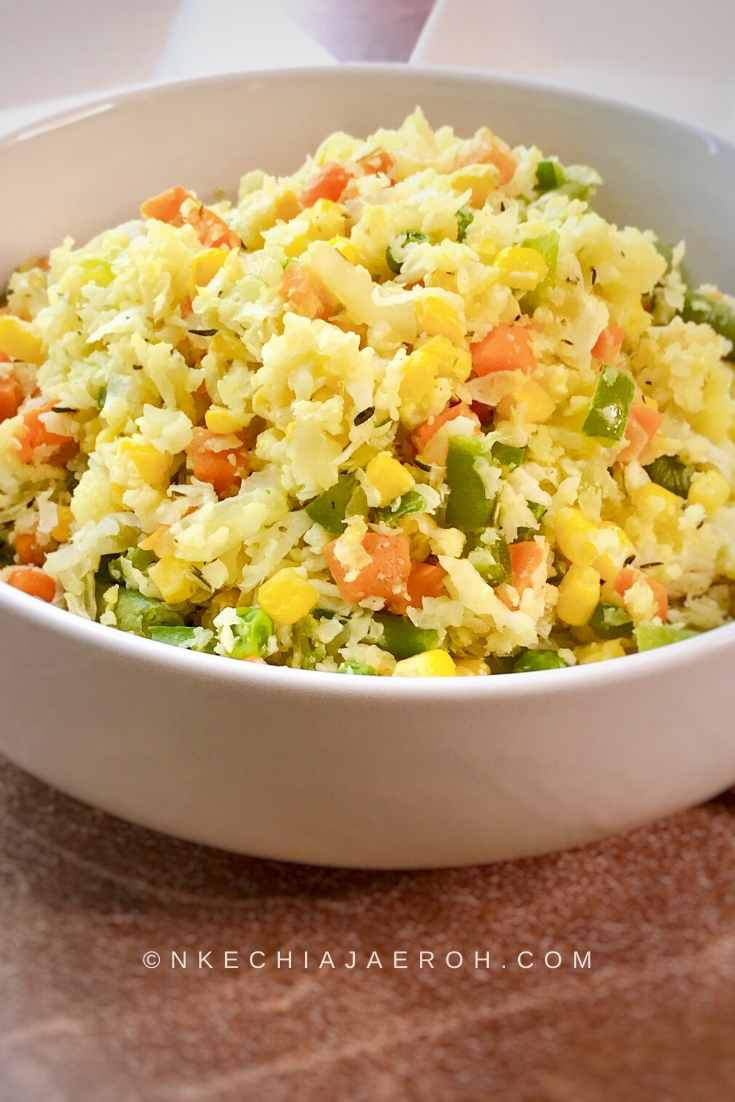 Healthy and delicious Cauliflower fried rice with peas, Carrots , and fresh corn.
