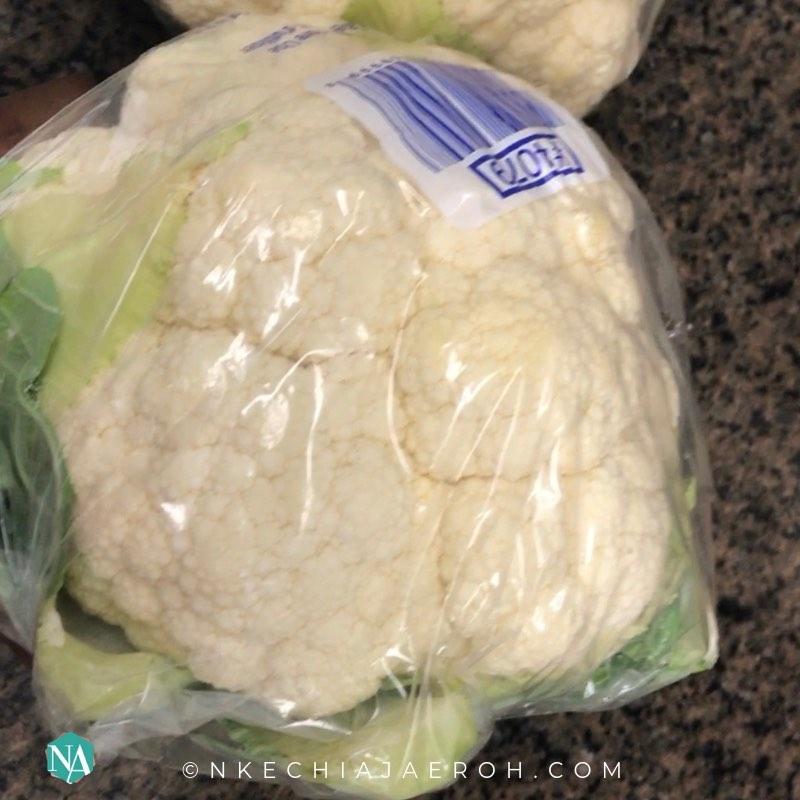 2 heads of raw cauliflower for making 15-minute cauliflower fried rice