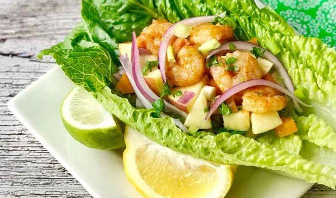 Lime shrimp lettuce wraps or know as low calories lettuce wrap