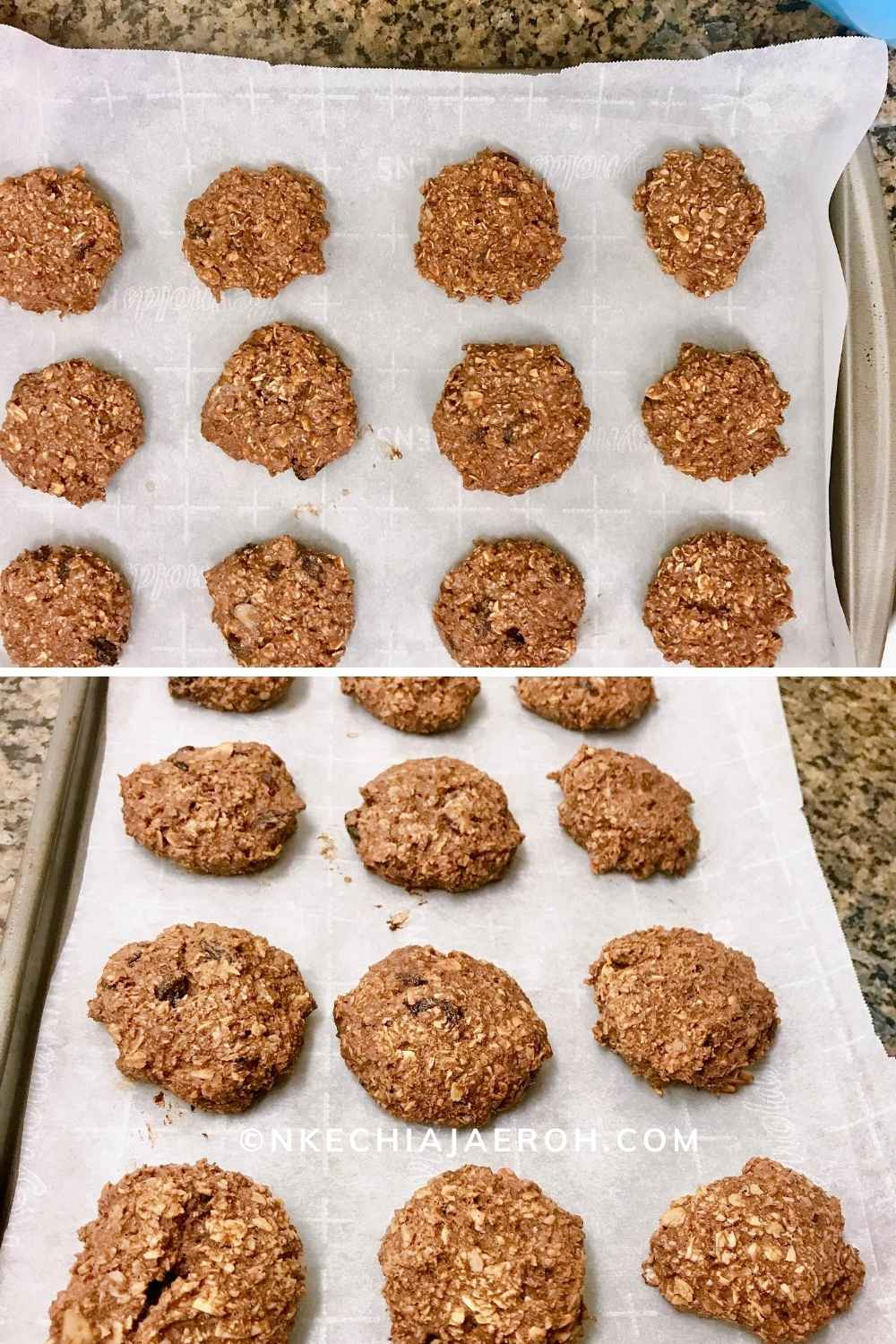 These healthy vegan almond oats cacao cookie is just the perfect breakfast cookies you have been looking for. The is the before and after the oven process photo. Honestly, you may not see the difference, but you will surely taste the difference.