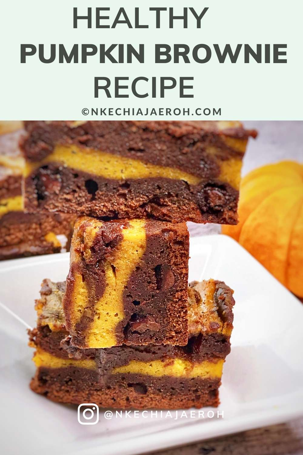 Healthy and delicious Pumpkin Brownies Recipe. This recipe is sugar-free, low carb, chocolatey, and a healthier version of your beloved pumpkin brownie. Easy to make fall season treats, this pumpkin swirled fudgy pumpkin brownies are comforting and satisfying. These healthier fudgy brownies are made with real homemade pumpkin purée (roasted and pureed by yours truly). #Pumpkin #Pumpkinseason #falldessert #pumpkinbrownies #Healthypumpkinbrownie #Healthybrownierecipe #healthydessert #Thanksgiving