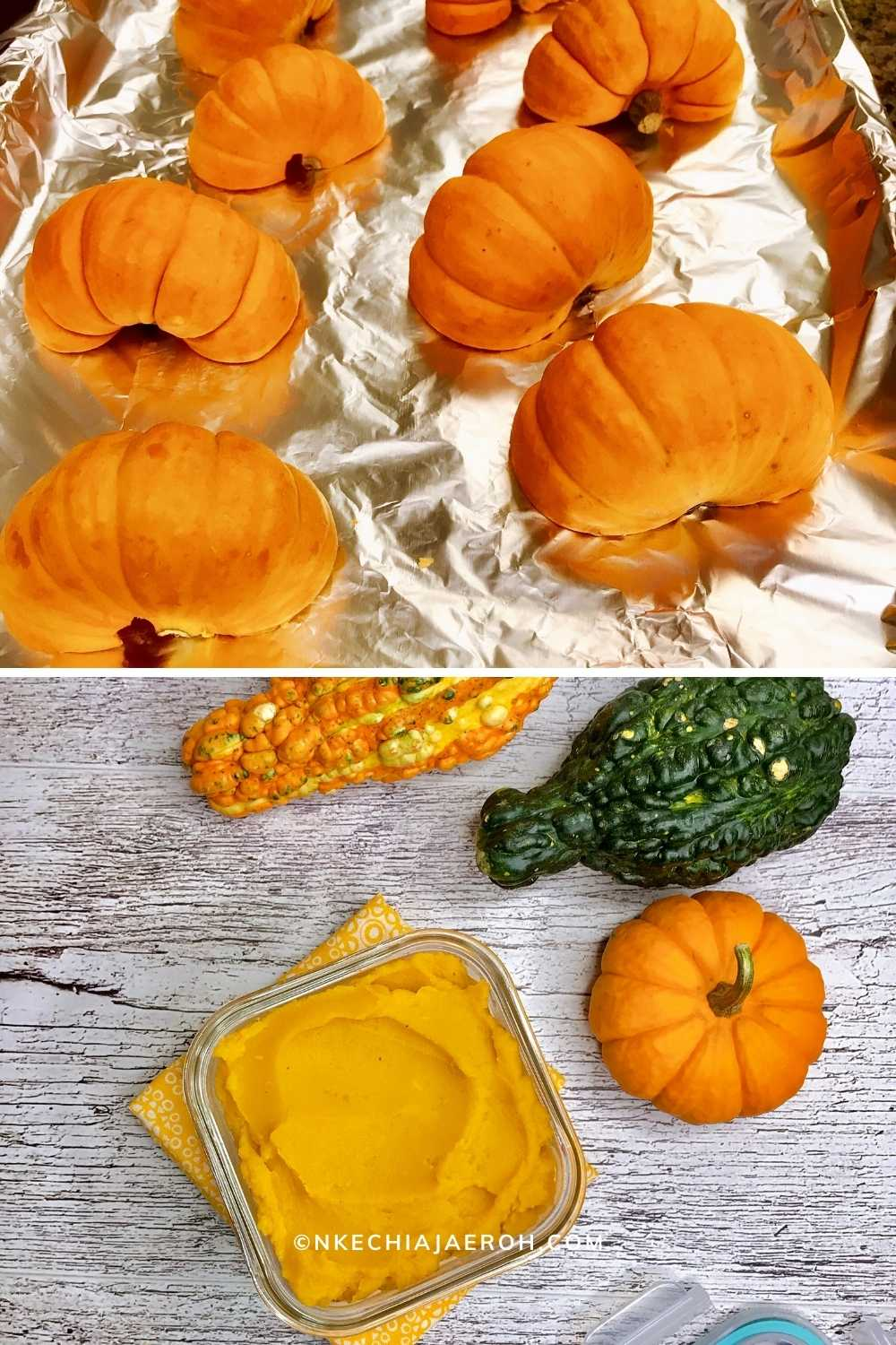 Pumpkin purée from small pumpkins. This purée was perfect for this pumpkin brownies