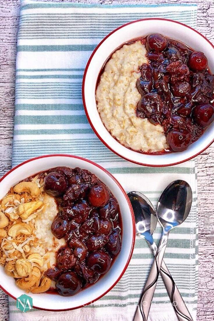 Healthy coconut milk oatmeal porridge recipe with fruits and nuts toppings