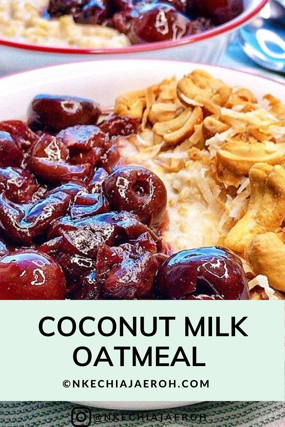 Healthy Coconut Milk Oatmeal with Stewed cherry. This warm, comforting, and satisfying bowl of oats and fresh coconut goodness has been a total hit in my household in this cold winter. And who says you can't enjoy them in the summer months. The kids love it, the husband and I adore it!