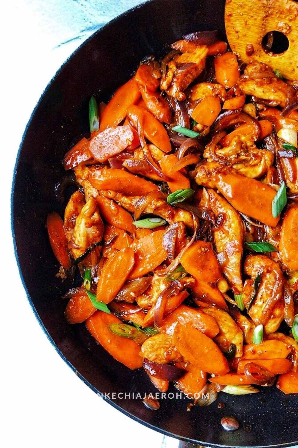 Finally, add the stir-fried vegetables back to the chicken and toss. Season and adjust flavors. Chicken carrot stir fry is ready; serve with white rice, cauliflower rice, or quinoa. I love love this sauce, one of my favorites!