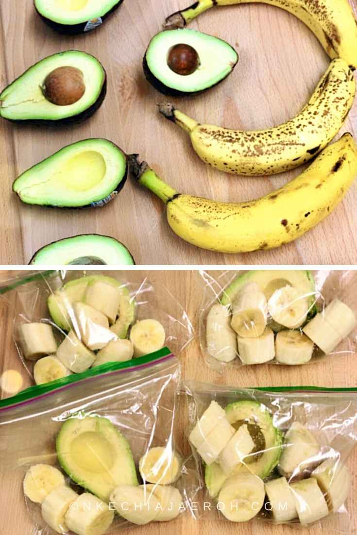 Healthy and delicious avocado coconut smoothie bowl recipe – process photo