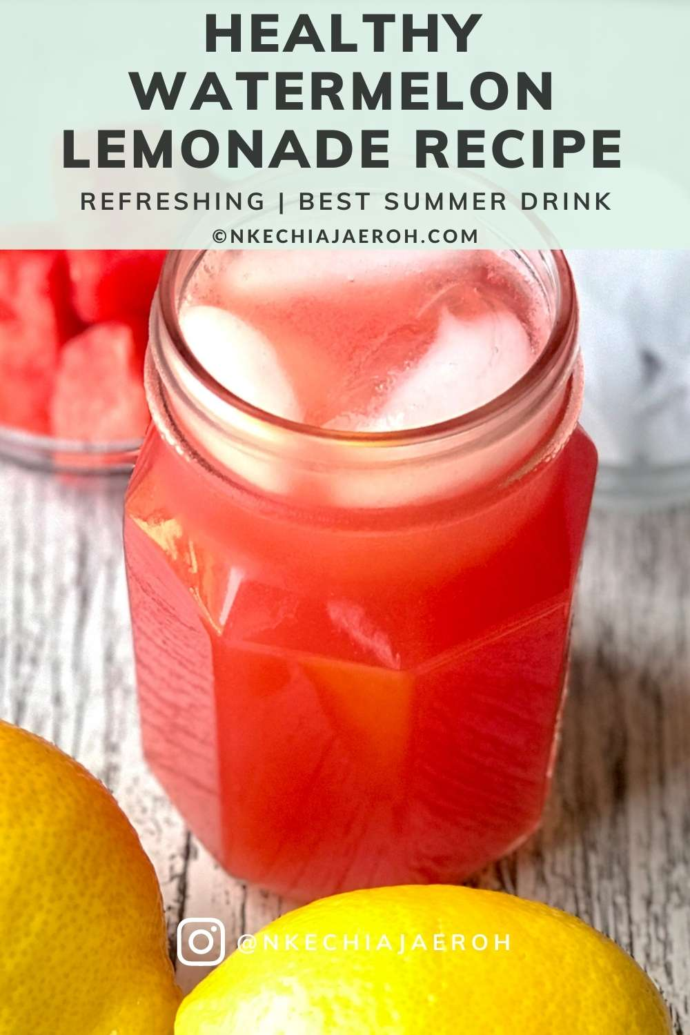 Refreshing, immune-boosting, and easy-to-make watermelon lemonade is the best summer drink you need to confront this sweltering heat! With only 3-ingredients – watermelon, lemon, and honey, you are all set for a hydrating experience! Relatively, remember to chill in the fridge and serve with ice! I mean it when I say that this is the best summer drink ever! In other words, the best healthy summer cooling drink! #watermelondrink #lemonade #Summerdrink #watermelon #summertimedrink #healthydrink