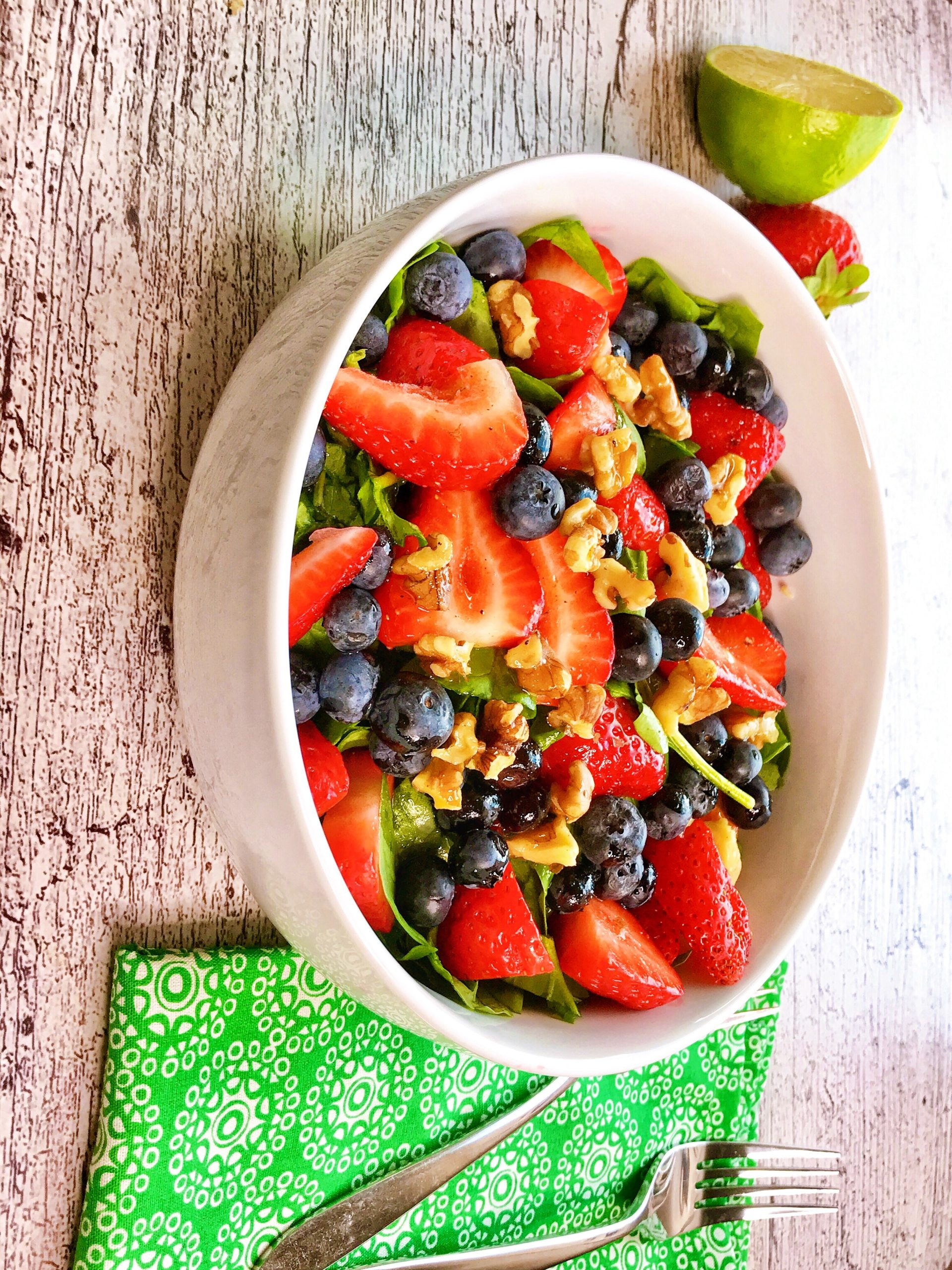 Easy mixed fruit berry salad with lime and olive oil dressing