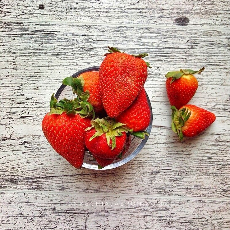 These ripe strawberries are were perfect for this salad. You can also substitute this with raspberries if that's what you have on hand.