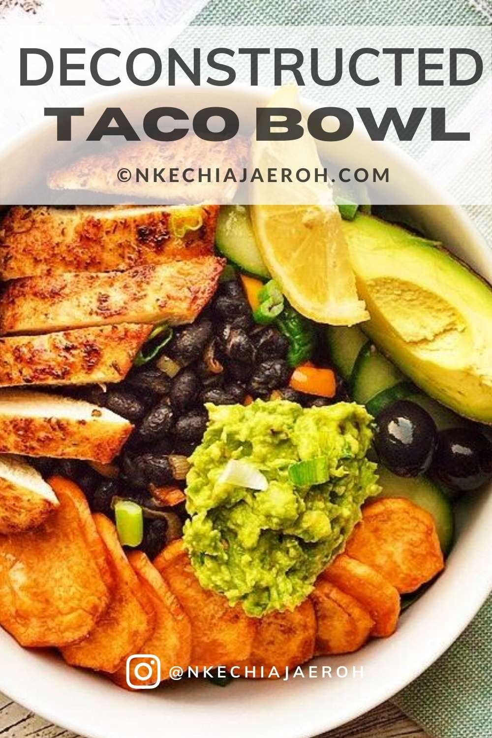 This healthy and nutritious deconstructed taco bowl recipe is the best salad!  It is easy to make and tastes incredibly delicious! This is the only taco Bowl you need; it is excellent for healthy meal prep, in other words, prep a bunch of things ahead such as black beans, chicken, cut cucumbers, etc., This healthy, taco salad recipe incorporates sweet potatoes, and it makes it even tastier and satisfying! #tacorecipe, #blackbeanstaco #burritobowl #chickentaco #tacobowl