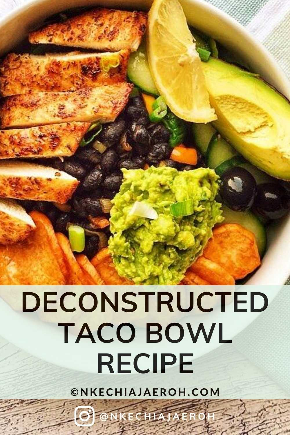 This low-carb healthy and nutritious deconstructed taco bowl recipe is the best salad!  It is easy to make and tastes incredibly delicious! This is the only taco Bowl you need; it is excellent for healthy meal prep, in other words, prep a bunch of things ahead such as black beans, chicken, cut cucumbers, etc., This healthy, taco salad recipe incorporates sweet potatoes, and it makes it even tastier and satisfying! #tacorecipe, #blackbeanstaco #burritobowl #chickentaco #tacobowl