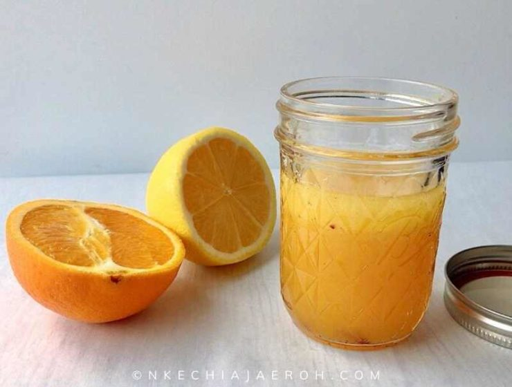 Super simple citrus salad dressing ready for use.