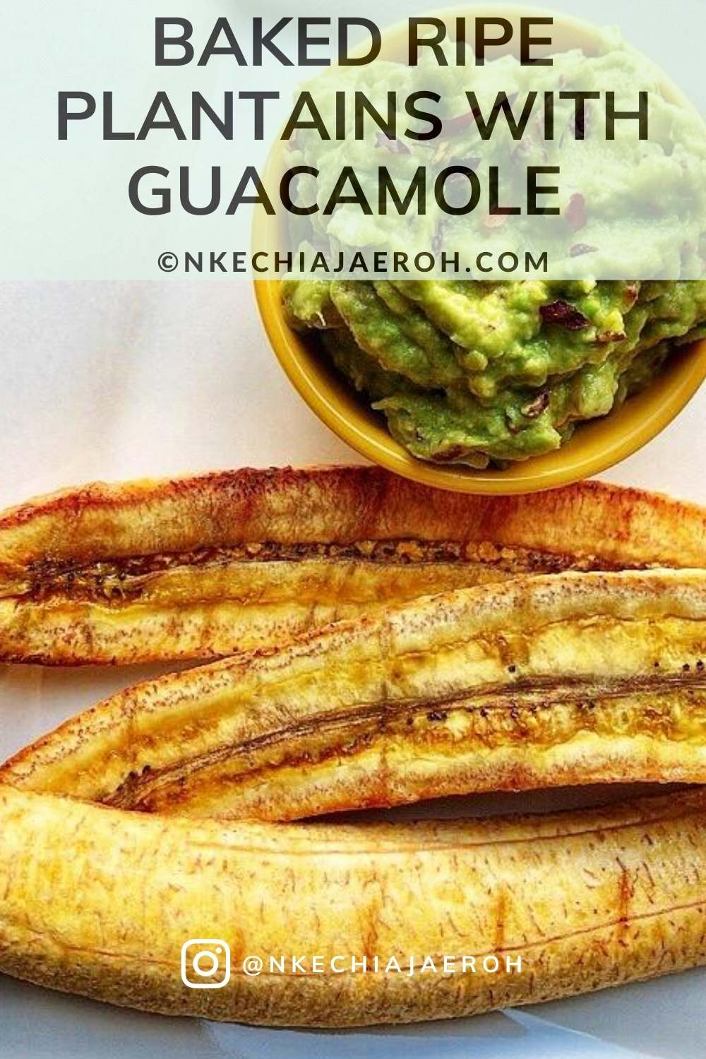 These oven-roasted perfectly baked ripe plantains served with guacamole is mouthwatering and insanely delicious! Also known as Boli – a very popular Nigerian street food. This Nigerian baked ripe sweet yellow plantain recipe is vegan, paleo-friendly, gluten-free, and oven-baked to perfection. These roasted plantains are breakfast, lunch, dinner, or snack! They are great with pepper compote, groundnuts (peanuts), or guacamole. #Plantains #Bakeplantains #Roastedplantains #sweetplantains