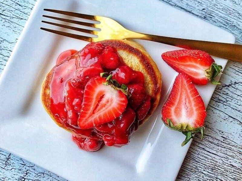 Healthy Greek yogurt oatmeal pancakes with coconut milk and buttermilk