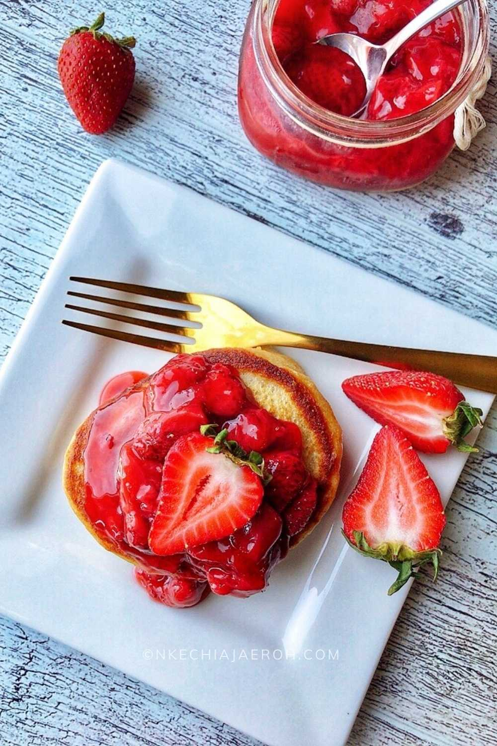 This pancake recipe is easy and healthy; you can't beat the Greek yogurt, buttermilk, coconut milk, and oatmeal together! Healthy breakfast recipes every family member would love! Make these fluffy pancakes from scratch, and you will make them again and again! As always, homemade pancakes are the best! I also topped these pancakes with strawberry sauce, and it made such a perfect healthy pancake recipe combination!