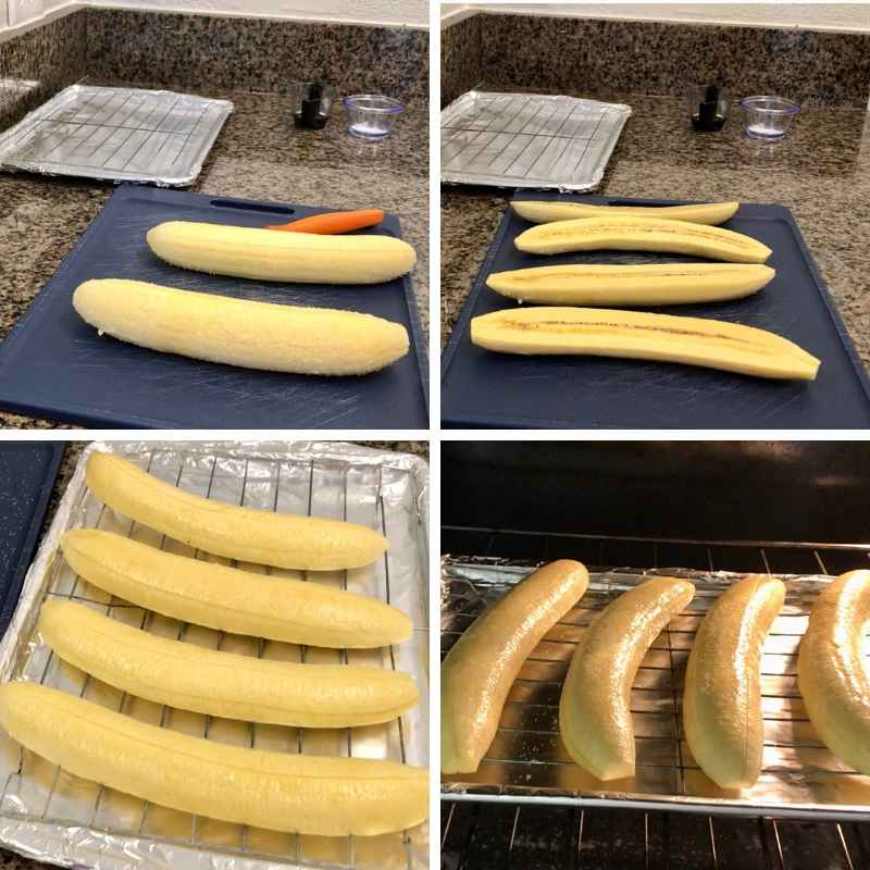 How to cook plantains, baked and healthy. Step 1, wash, peel, and bake in the oven