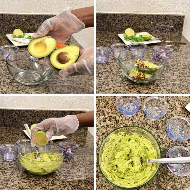 Savory and sweet baked ripe plantains served with freshly made guacamole