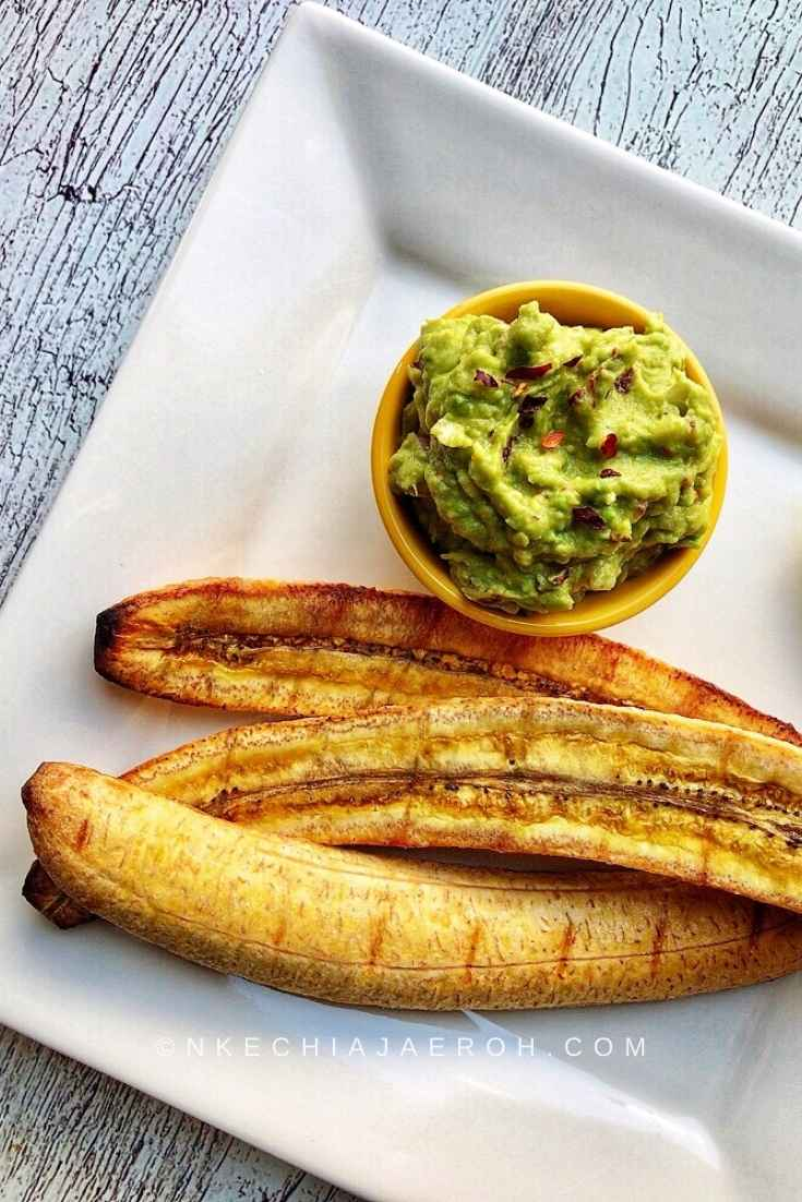 Healthy roasted ripe plantains in the oven. Baked plantains without foil