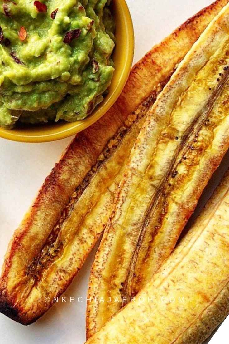 Roasted sweet yellow plantains without the skins