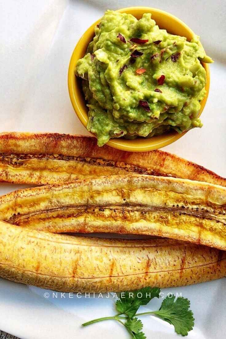 Baked ripe plantains swerved with guacamole also known as Maduros.