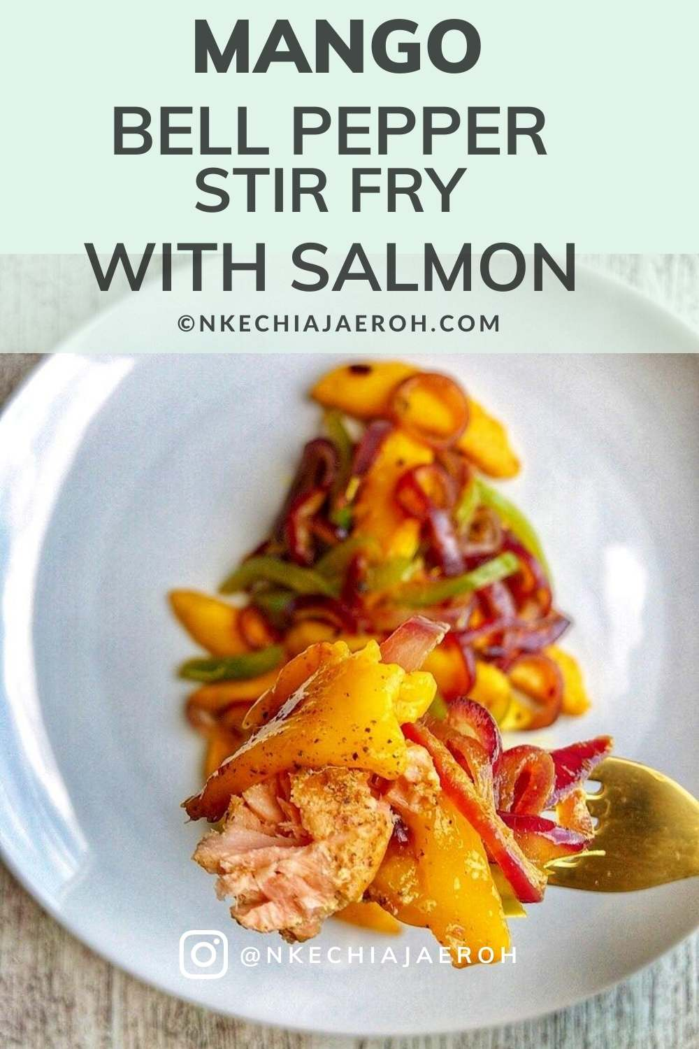 The best mango stir-fry recipe! This healthy vegetarian mango bell pepper stir fry with salmon cooks in 20 minutes or less. A tasty mango dish that hit every spot – healthy, easy, juicy, sweet, savory, colorful, flavorful, and insanely delicious! A sure winner on the dinner table! This dish is a must-try! This easy peasy lunch/dinner mango stir fry with salmon will leave your guests impressed! This is a perfect summer recipe! #salmon #mango #stirfry #peppers #dinner #healthy