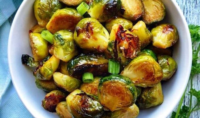 Vegan, Dairy-free, Gluten-free, and Paleo, Baked Brussels Sprouts Recipe - super easy to make and insanely delicious.