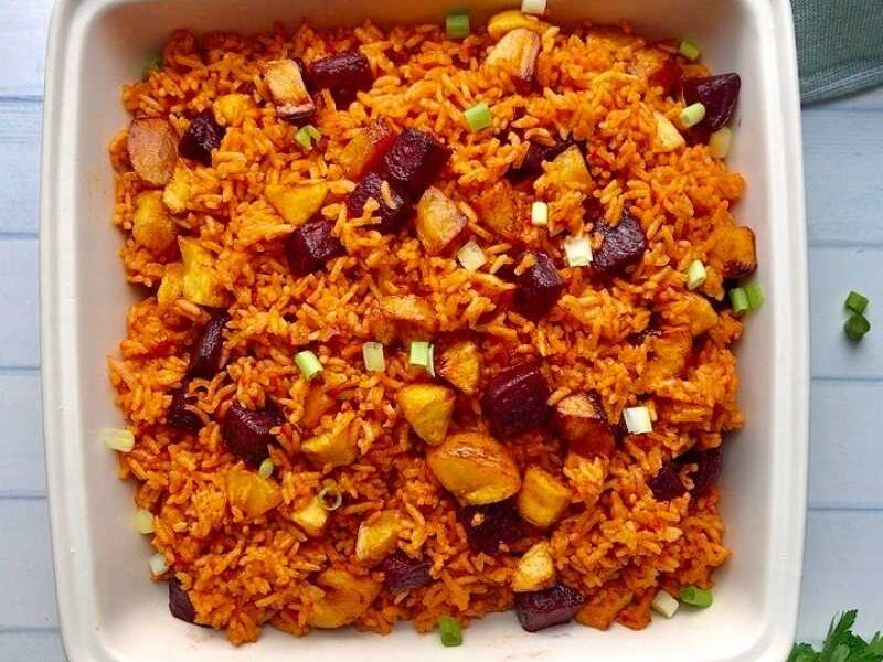 how to cook brown rice Jollof without soaking with beets and plantains