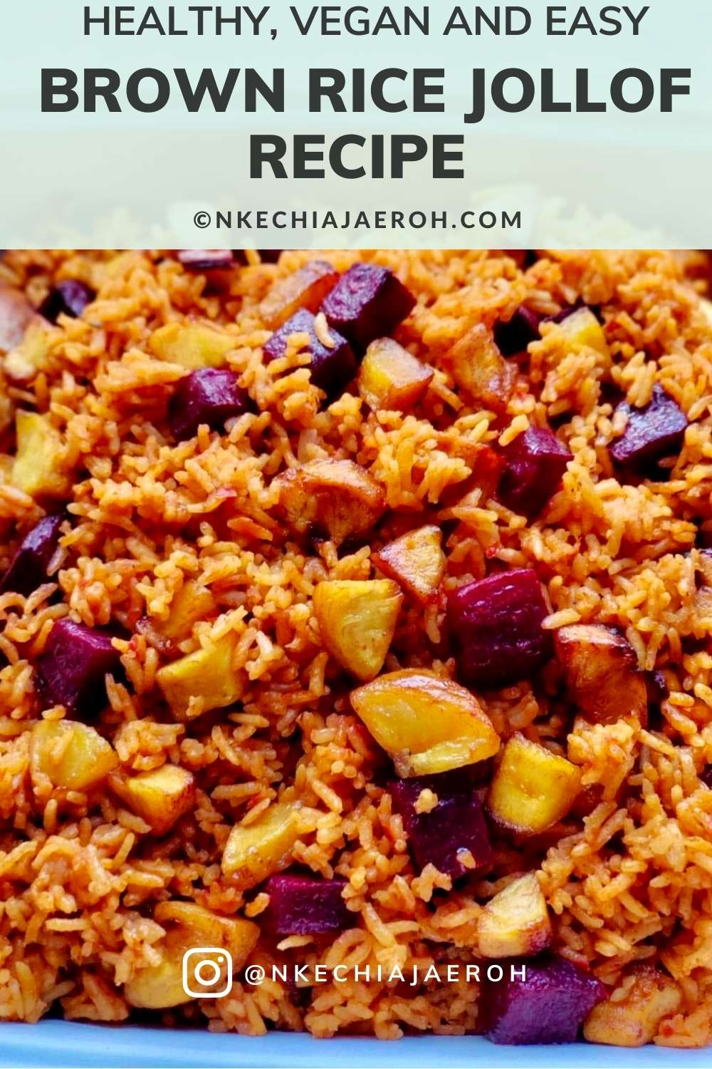 Learn how to cook this drool-worthy crowd-pleaser holiday healthy brown rice jollof side dish with beets and plantains that your entire family and guest will love and enjoy! Super easy to make, seasoned to perfection, tasty, and delicious. #Brownrice #rice #sidedish #Jollofrice