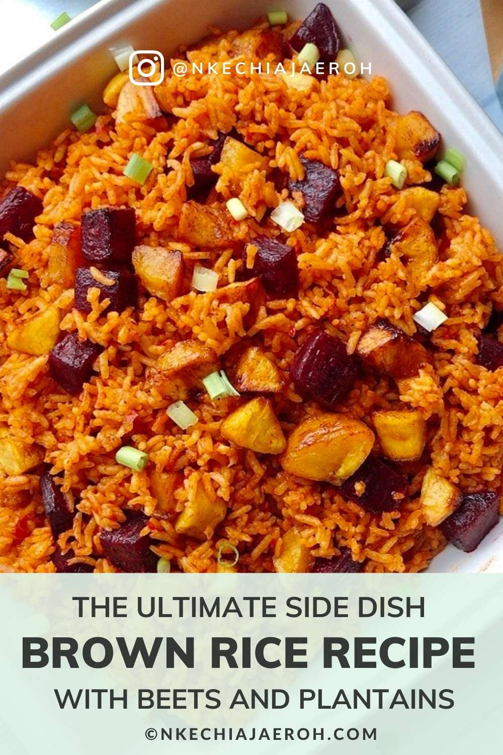 This healthy and insanely delicious brown rice Jollof recipe is vegan, gluten-free, dairy-free, kosher, and the perfect side dish for every occasion. This brown rice recipe cooks very quickly and has a yummy nutty flavor. This dish is a winner, a crowd-pleaser, and hands down the best brown rice recipe! Whether you are looking for a Thanksgiving side dish or Christmas side dish, this recipe is just right and perfect!