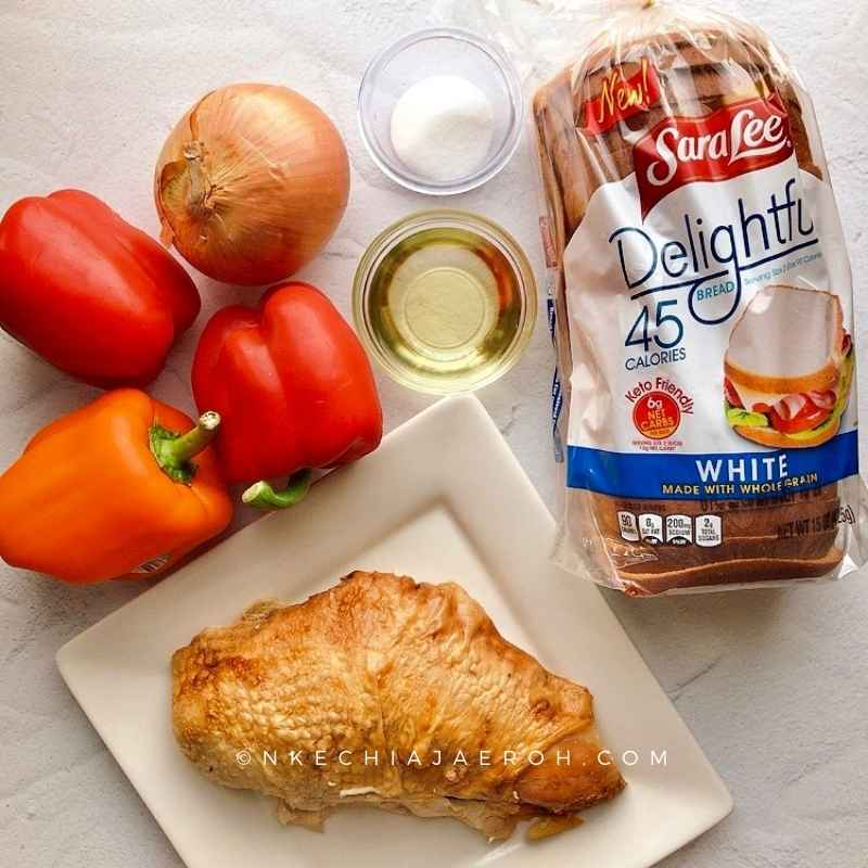 The best thing about this peppered turkey bite recipe is that it uses only 6 ingredients, yes, S I X ingredients, in other words, less time to shop and cook, and more time to relax and enjoy. Turkey breast, bell peppers, olive oil, salt, onions, and Sara Lee Keto-friendly bread