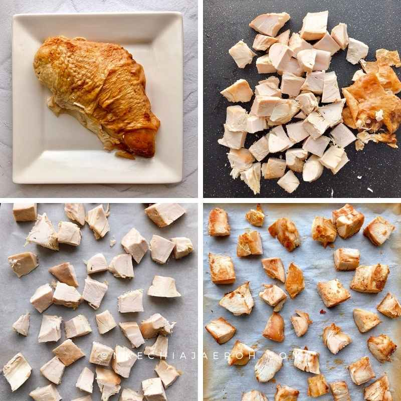 To prep the turkey, first, gently remove the turkey skin; second, cut it up in cubes or squares. Finally, place on a baking sheet, and bake to crisp up.