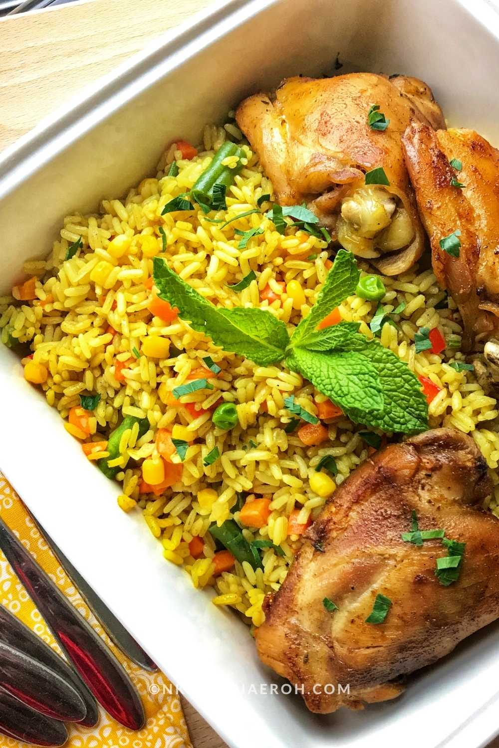 For the folks at the back, this is one fried rice recipe you want in your arsenal; it is easy to cook, colorful, flavorful, and will leave you with an unforgettable experience! The best part is that you can serve this recipe with anything – chicken, fish, tofu!