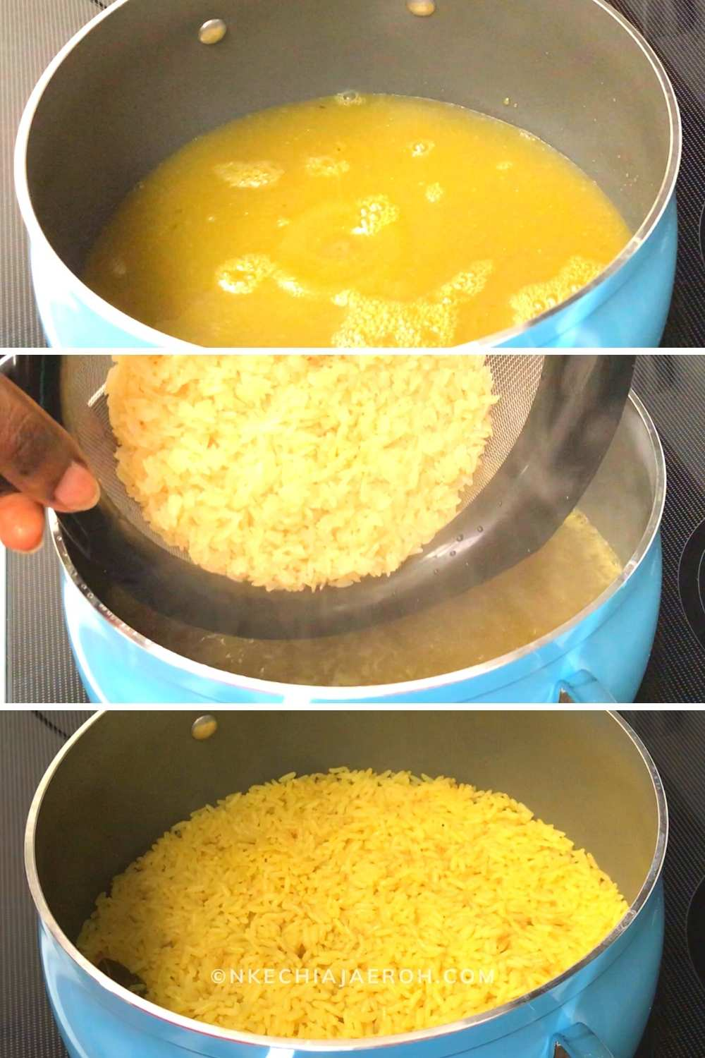 First, cook the rice in a well-seasoned broth. I used chicken broth but you can vegetable broth or seasoned water.