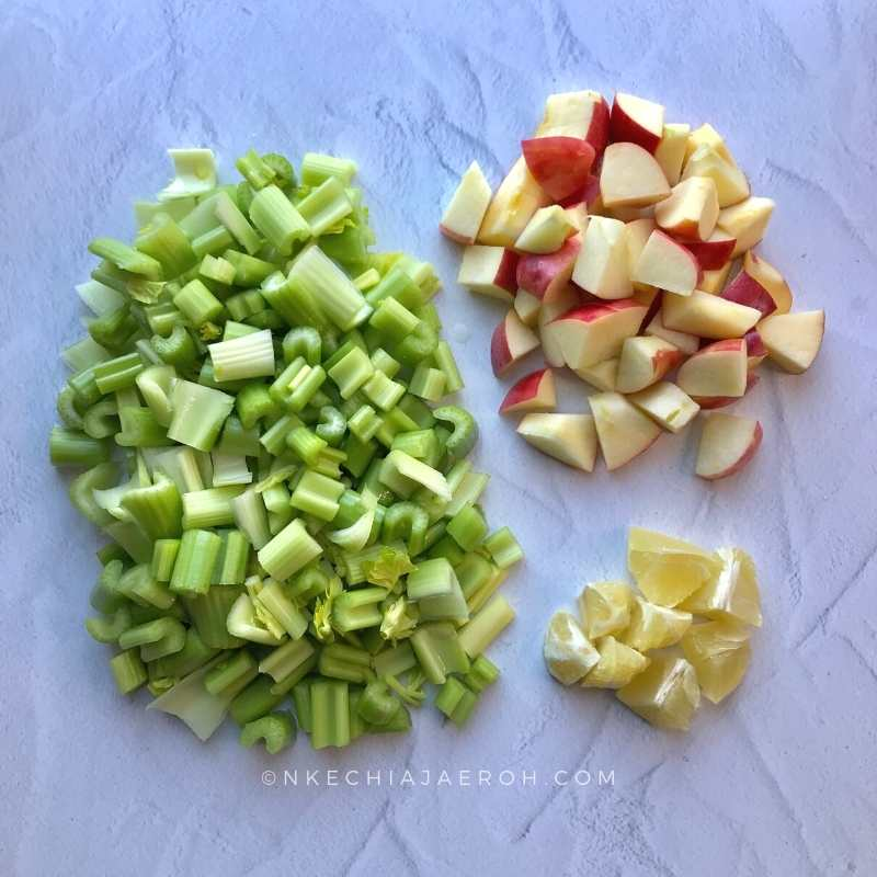 cut the celery stalks and other vegetables accordingly. Uniquely, juicers differ, and the type of juicer you are using will determine how big or small you cut the vegetables.