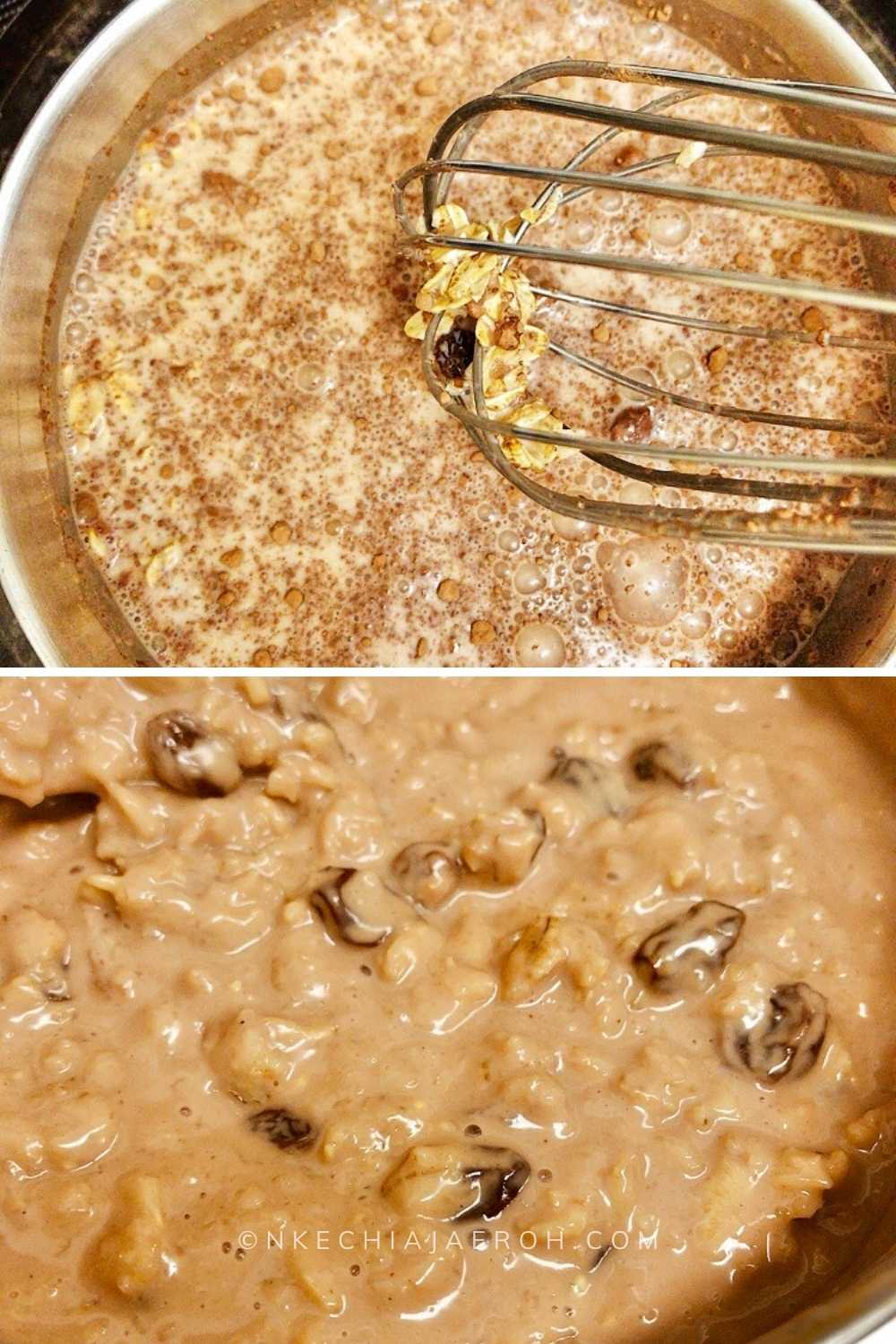Cook the oat porridge to your desired consistency, I like mine really soft, creamy and light, not think very thick.