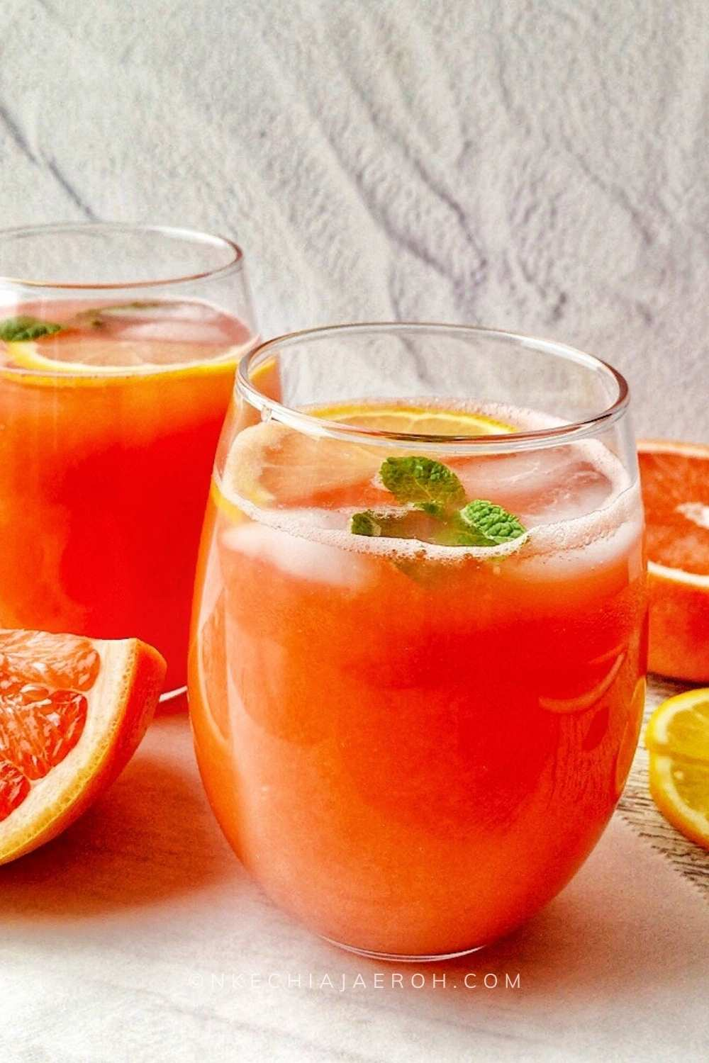 Grapefruit juice is juice from grapefruit; this juice is rich in many antioxidants, healthy nutrients, and minerals. Homemade grapefruit juice is always the best because it does not have artificial preservatives or additives!