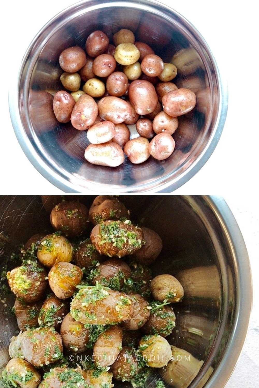 Making bacon wrapped small potato bites is super easy. First, wash all the vegetables, then parboil or half cook the baby potatoes. Second, marinate the potatoes with the coconut cream parsley pesto. Third, wrap with the little potatoes with bacon, and then bake till doneness.