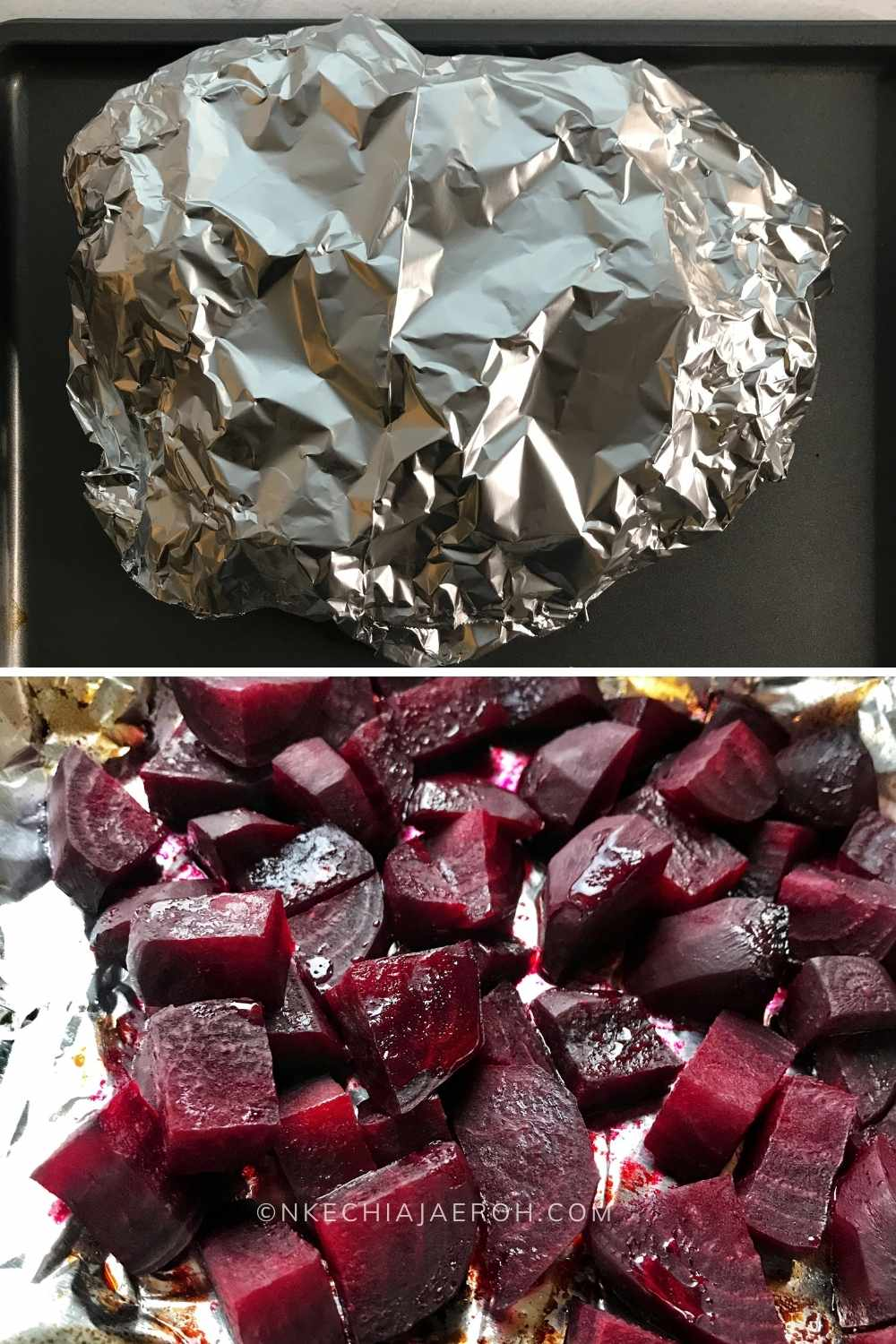 Don't like raw beets? Then roast beet - yes, you heard me! I love cooked beets as well; they are so sweet. If you struggle with eating raw beets or new to beetroot, I suggest you boil or bake the beets before adding them to your salads. Personally, I think baking/roasting helps to keep all the flavors intact. My forever tip for roasting beets is to cut them into cubes, sprinkle a little salt, and some EVOO. Wrap in foil and bake until tender; the cooking time will depend on the size of the beet. But it usually takes between 30 - 50 minutes; below is some beetroot I had roasted the other day!
