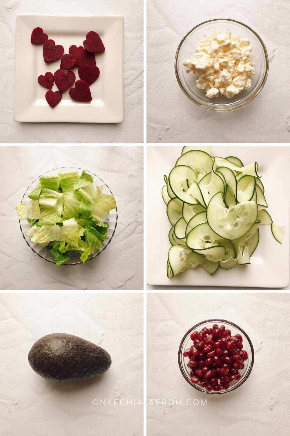 The ingredients for making this beet feta cheese salad include beetroot aka beet, feta cheese, lettuce, cucumber, avocado, and salmon. As if these weren't enough, I topped our beetroot and feta cheese salad with pomegranate seeds to make for an even more delicious and eye-catching heart-healthy salad.