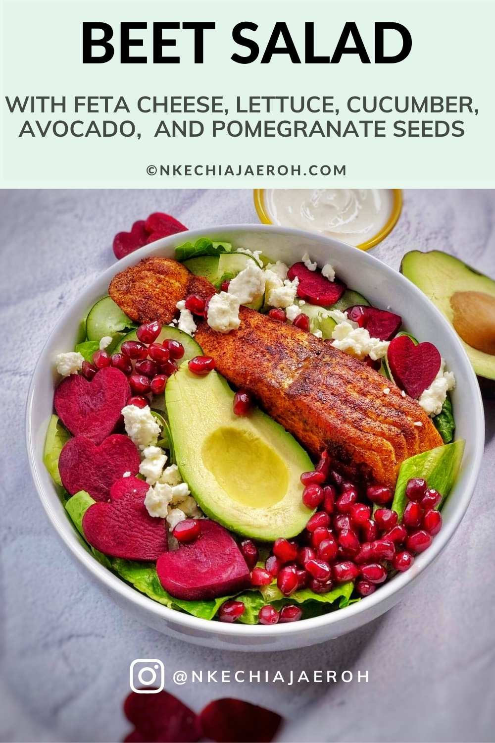 Easy to make raw beet salad with feta cheese, loaded with lettuce, cucumber, avocado, and salmon; serve with creamy yogurt dressing and top with your favorite things! I added pomegranate seeds, and it was perfect; the best part is that this recipe takes less than 15 minutes to put together. This heart-healthy beet salad is a dream!#Beet #beetroot #beetsalad #beetrootsalad #hearthealthysalad #beetsaladandfetacheese #beetrootandfetacheese #healthysaladrecipe