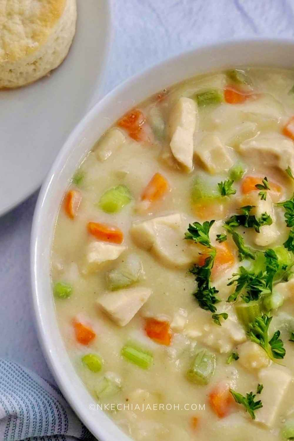 A hearty pot pie soup bowl served warm with biscuits is always the best! This soup is gluten-free, dairy-free, nut-free, grain-free, low-carb, and whole30-friendly! This easy-to-make heart-healthy pot pie soup will keep you satisfied.